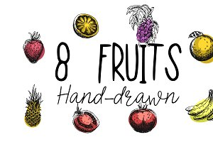 8 Fruits hand drawn