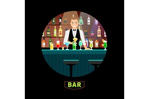Bartender with luxury alcohol