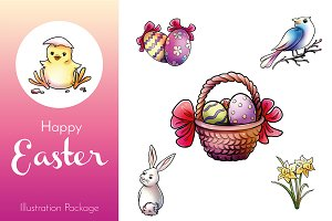 Set of 9 Happy Easter Illustrations