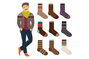 Casual style male socks set