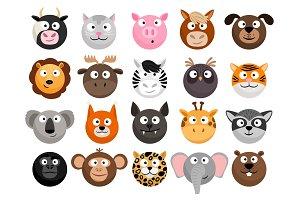 Animal emoticons set