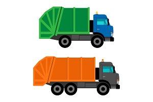 Cartoon garbage trucks