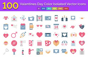 100 Valentines Day Color Icons Pack
