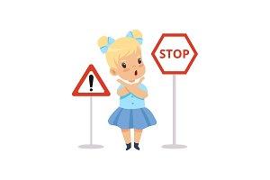 Cute Girl and Warning Road Signs