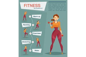 Woman doing exercises. Infographic