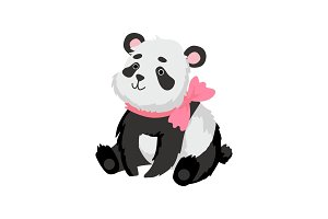 Cute Baby Panda Bear with Pink Bow