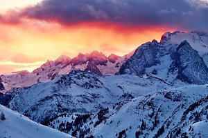 Marmolada mountain with red sky