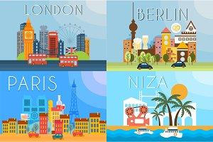 Travel landmarks, city architecture