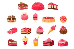 Pink sweets and desserts big set