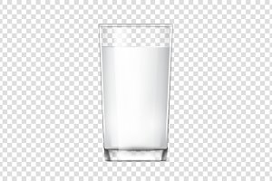 Realistic glass cup with milk