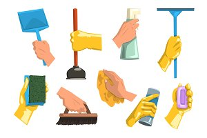 Flat vector set of cleaning