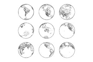 Sketches of continents on planet