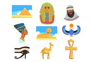 Flat vector set of Egyptian culture