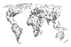 Sketch of Earth world map. Hand