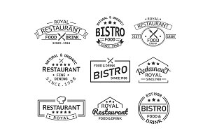 Restaurant and cafe retro logo and