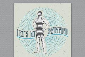 Vintage swimming man