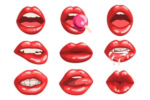 Red glossy lips set, girls mouth