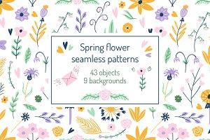 Spring Flowers Seamless Patterns set