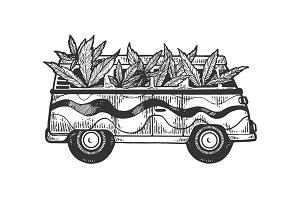 Minibus van with cannabis leaf