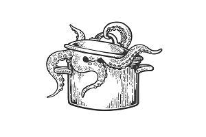 Octopus in pan engraving vector
