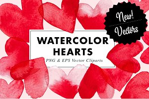 15 Watercolor Heart illustration EPS