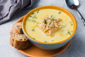 Pink salmon fish soup with cream