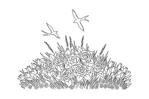 Swallows doodle with flowers on