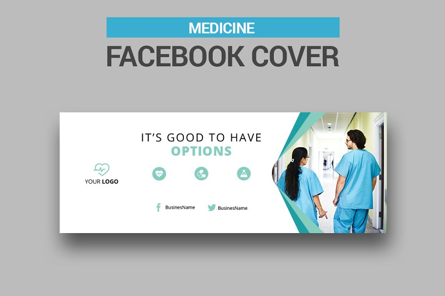 6 Medicine Facebook Covers in Facebook Templates - product preview 1