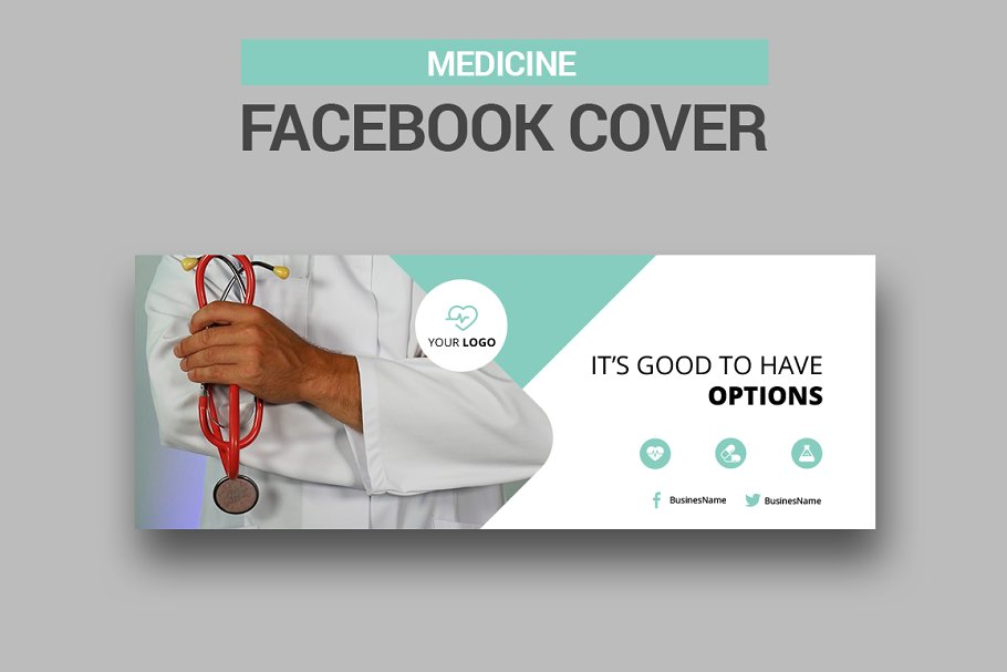 6 Medicine Facebook Covers in Facebook Templates - product preview 2