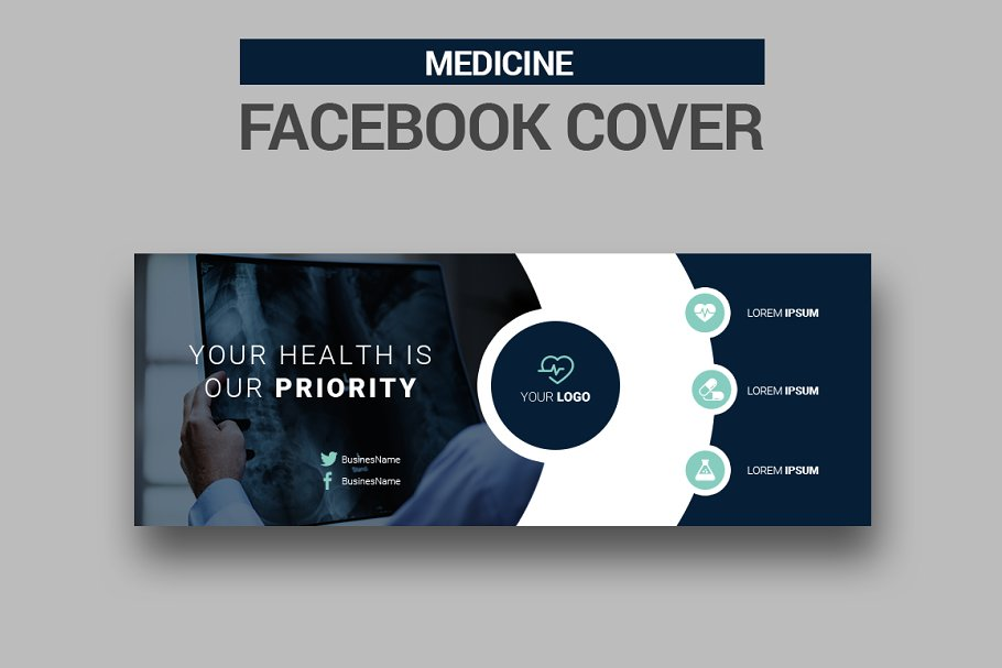 6 Medicine Facebook Covers in Facebook Templates - product preview 3