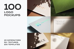 100 Logo Mockup Branding Bundle