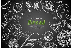 Vector bakery vintage background