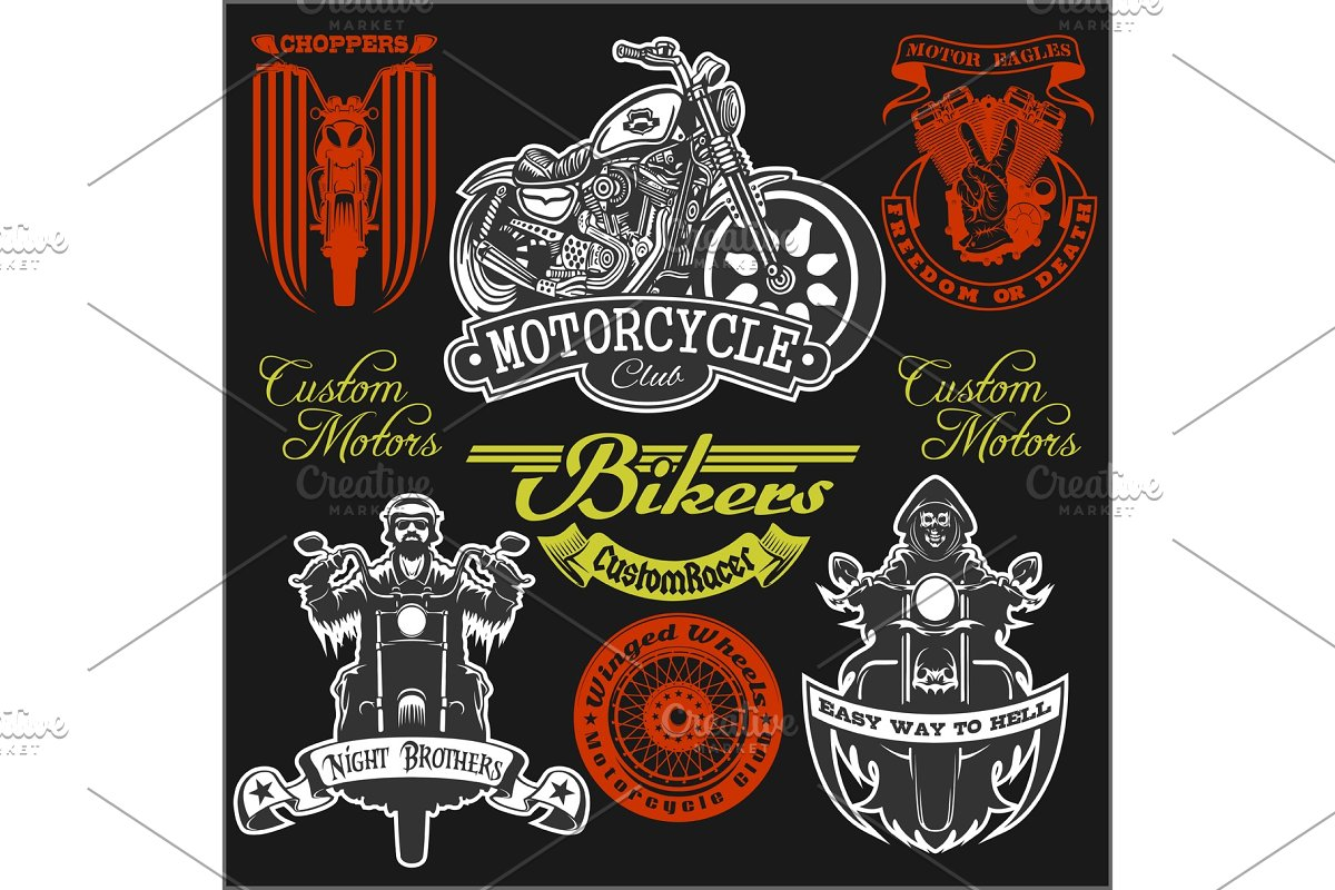 67c4d1a53e4 Motorcycle label t-shirt design with ~ Illustrations ~ Creative Market