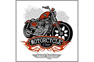 Motorcycle label t-shirt design with