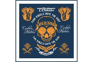 Retro motorcycle label, badge and