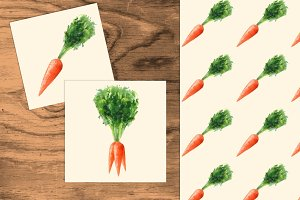 Carrots set. Watercolor +seamless