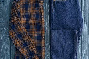 Top view of denim pants and stylish