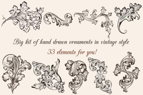 big set of engraved ornaments illustrations creative market