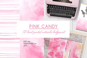 Pink candy - watercolor background