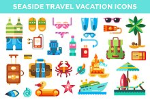 Seaside Travel Vacation Icons Set