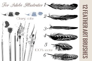 Feather brushes for illustrator