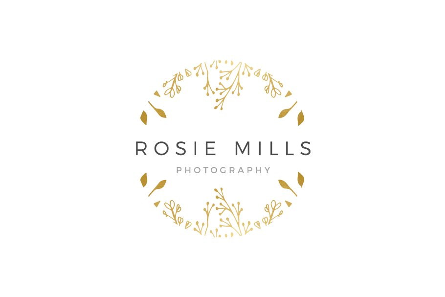 Gold Floral Logo Hand Drawn EPS PSD