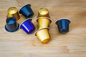 group of espresso coffee capsules