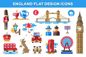 England Flat Design Icons Set