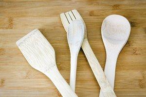 group of wooden kitchen utensils