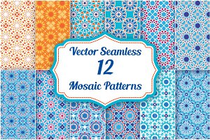 Set of 12 Mosaic Patterns