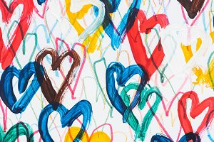 background of colorful painted heart