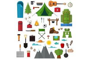 Cartoon Mountain Hike Set. Vector