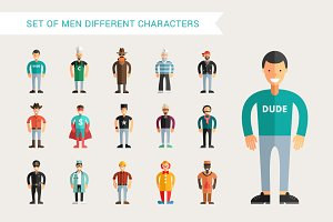 Set of Men Different Characters