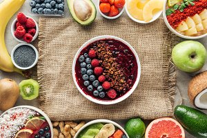 top view of smoothie bowls and frame